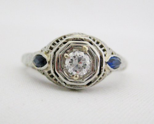 Vintage Filigree Diamond Ring with Blue Side Accents