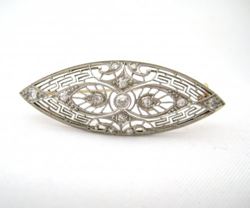 Vintage Marquise Shaped Platinum Top Filigree Pin