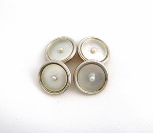 Mother of Pearl on Two Tone Gold Cufflinks