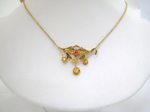 Vintage Ruby and Diamond Neckpiece