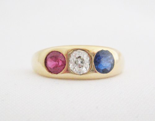 Vintage Ruby, Sapphire and Diamond Gypsy Set Ring