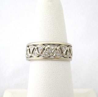 Wide Diamond and White Gold Band with Triangular Design