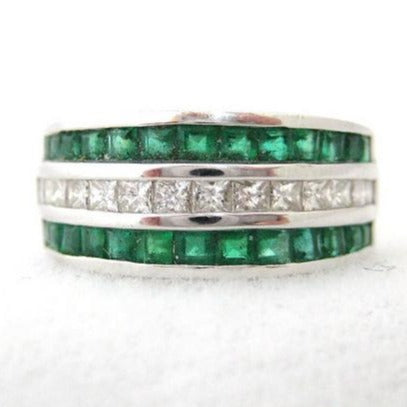 Wide Double Row of Emeralds Band with Center Channel of Square Cut Diamonds