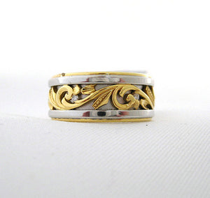 Platinum and Yellow Gold Band with Scrolling Design
