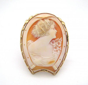 Woman with 3 Flowers on Shoulder Cameo Pin/Pendant