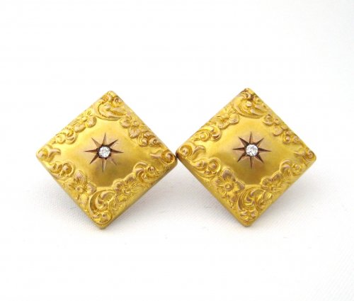 Repousse Square Earrings with Euro Cut Diamond Center