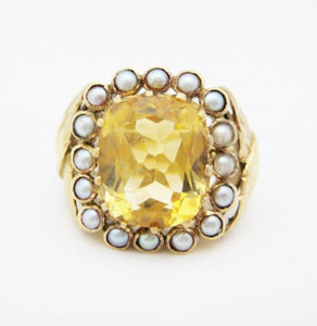 Large Citrine Surrounded by Bezel Set Pearls Ring