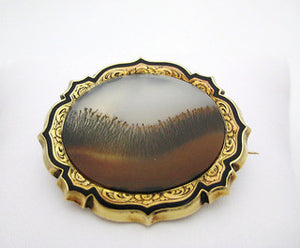 """Field of Dreams"" Victorian Agate and Black Enamel Brooch"