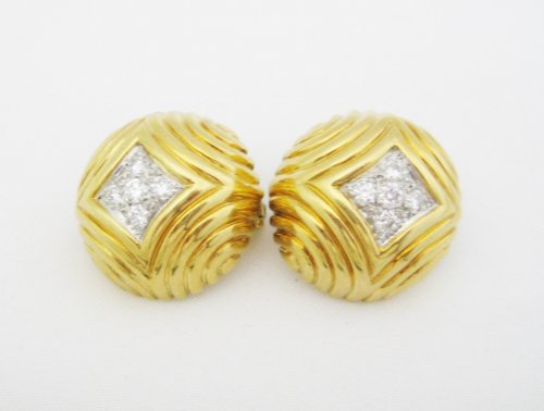Gold Large Round Clip Earrings