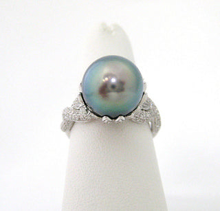 Tahitian Pearl Ring set in Diamond Encrusted Elaborate Setting
