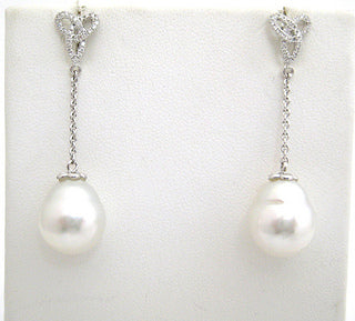 South Sea Pearl Drop Earrings with Diamond Detail