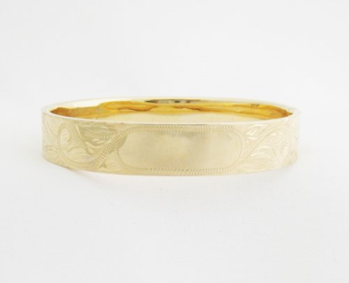 Gold Bangle with Light Etching