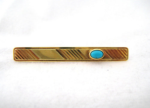 Gold with Turquoise Tie Clip