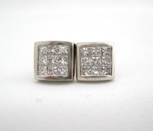 Princess Cut Diamonds Framed in Platinum Earrings