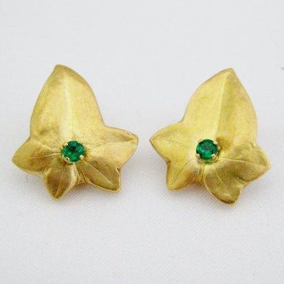 Yellow Gold Leaf Earrings with Center Emerald