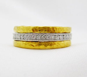 Two Tone Eternity Band with Center Channel of Diamonds