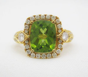 Peridot Ring Framed by Diamonds