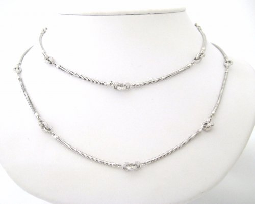 White Gold Snake Chain with Contemporary Diamond Stations