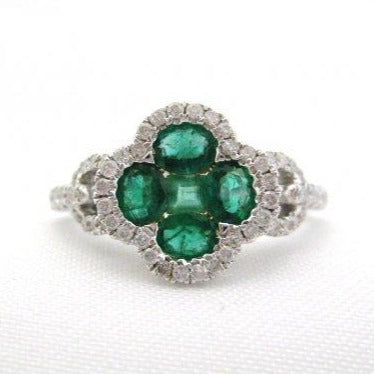 Oval and Square Emerald Ring in Flower Shape