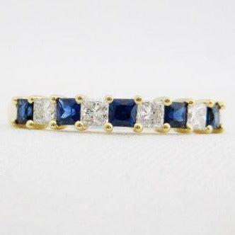 Princess Cut Diamond and Square Cut Sapphire Band