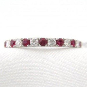 Alternating 7 Ruby and 6 Diamond Half Band
