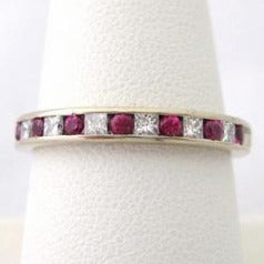 Alternating Diamond and Ruby Band