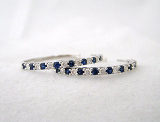 Alternating Diamond and Sapphire Hoop Earrings
