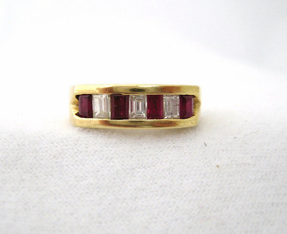 Emerald Cut Diamonds and Rubies Ring