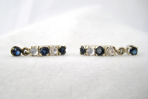 Moonstone and Sapphire Hoop Earrings