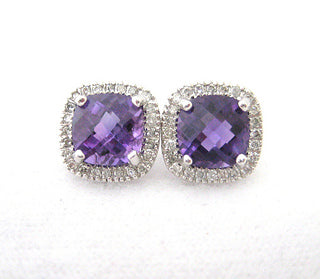 Amethyst Earrings Surrounded by Small Diamonds