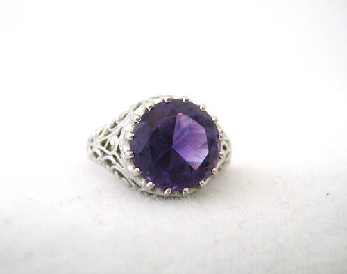 Amethyst Ring with Open Work