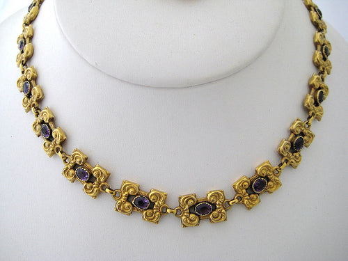 Amethyst set in 14k Yellow Gold Choker