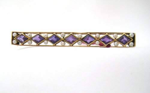 Antique Amethyst and Seed Pearl Bar Pin