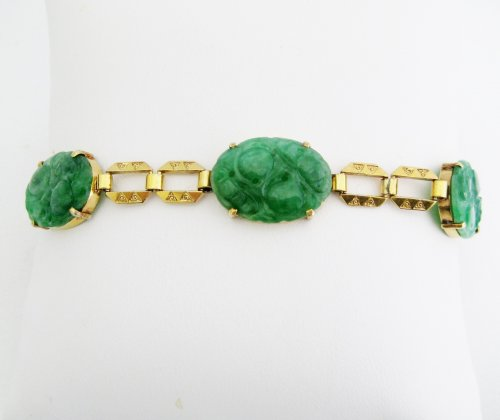 Antique Carved Jade Bracelet