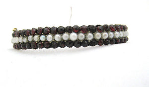 Antique Garnet and Pearl Bangle