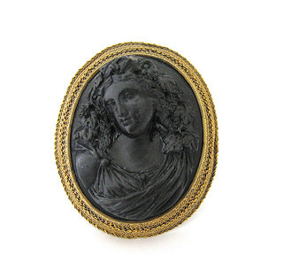 Antique Lava Cameo Pin