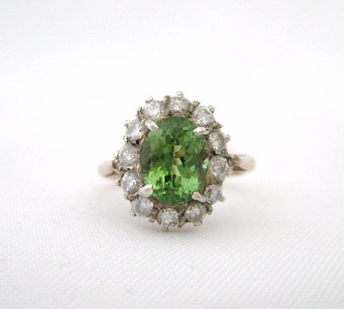 Antique Oval Green Tourmaline Ring