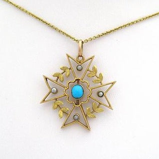 Antique Pendant with Turquoise and Pearls