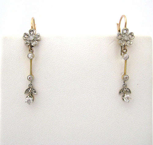 Antique Platinum on Yellow Gold Drop Earrings with Diamonds