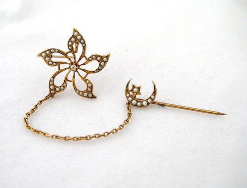Floral Pin with Diamond Center and Pearl Detail