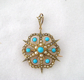 Antique Turquoise and Pearl Pin and Pendant