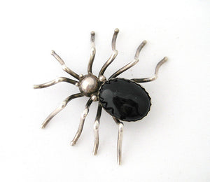 Sterling with Onyx Spider Pin