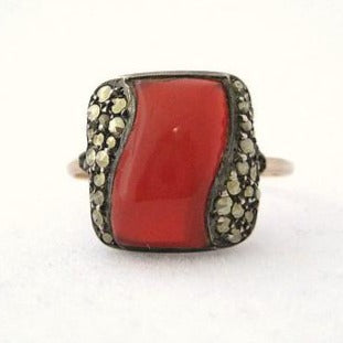 Art Deco Carnelian and Marcasite Ring