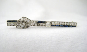 Art Deco Diamond and Sapphire Bar Pin