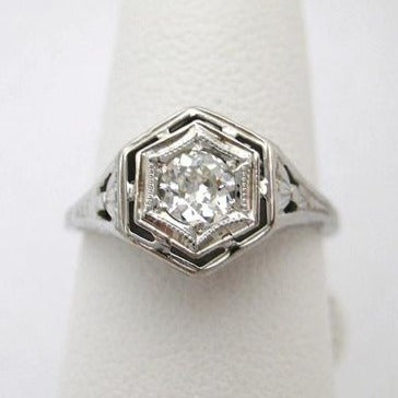 Art Deco Illusion Head Diamond Ring