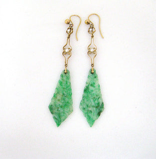 Art Deco Long Jade Dangle Earrings with Seed Pearl Detail