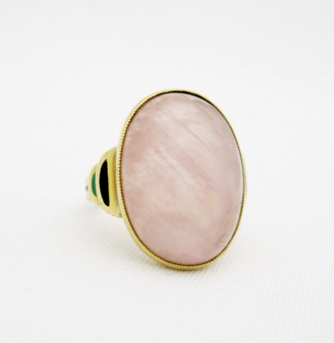 Art Deco Oval Rose Quartz Ring with Enamel Work