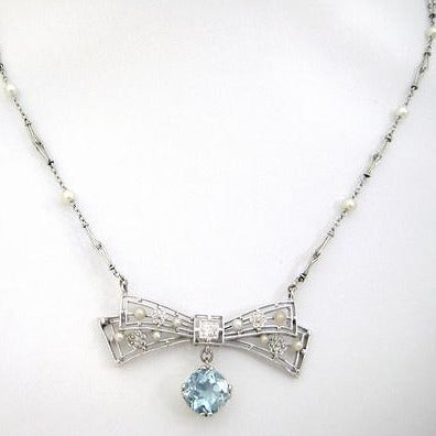 Aquamarine with Diamond Center and Pearls Neckpiece