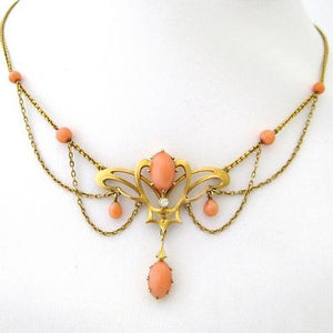 Art Nouveau Coral and Diamond Swag Necklace