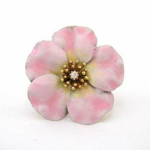 Enamel Primrose Pin with Diamond Center